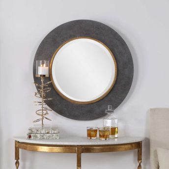 Contemporary Saul Round Mirror by Uttermost 75cm