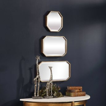 Contemporary Trois Mirrors by Uttermost 25cm x 50cm ( Set of 3 )