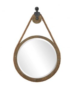 Rustic Timber Melton Round Mirror by Uttermost 63cm x 94cm