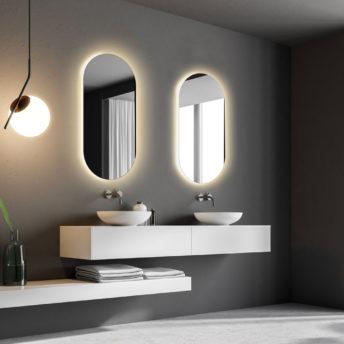 Rear Soft Glow Oval LED Warm Light Mirror