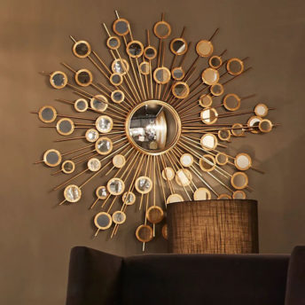 Gold Circles Mirrored Wall Art 113cm