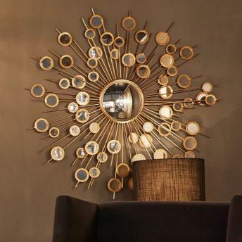 Gold Circles Mirrored Wall Art 113cm