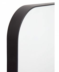 Texas Black Curved Corner Mirror Square 50cm x 50cm