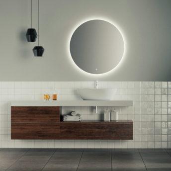 Aurora Round Backlit Bathroom Mirror with Demister 600mm or 800mm