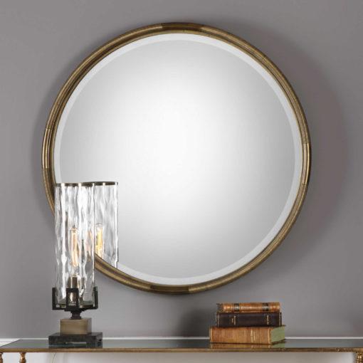 Finnick Gold Round Mirror by Uttermost 91cm