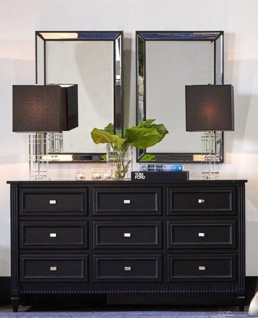 zanthia black beaded mirror