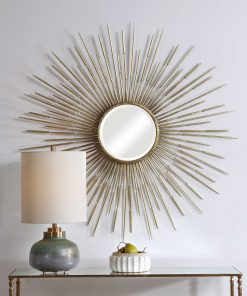 Golden Rays Round Mirror