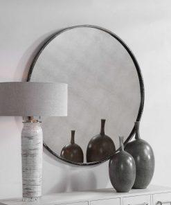 Junius Black Round Mirror