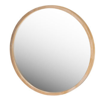 Manila Light Wood Round Mirror