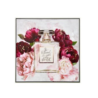 Framed Perfume Bottle with Roses