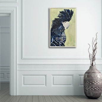 Framed Black Cockatoo Canvas Wall Art 60cm x 90cm