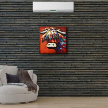 Orange Rainbow Yak Framed Canvas Wall Art 80cm x 80cm