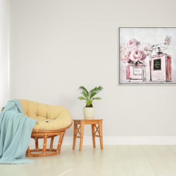 Pair Perfume with Butterfly and Flowers Canvas Wall Art 80cm x 80cm