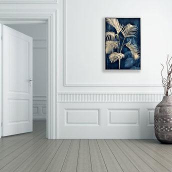 Yellowish Wreath On Blue Canvas Wall Art 80cm x 120cm