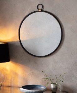 Bisque Black Round Wall Mirror