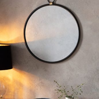 Bisque Black Round Wall Mirror