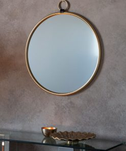 Bisque Gold Round Wall Mirror