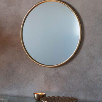 Bisque Gold Round Wall Mirror