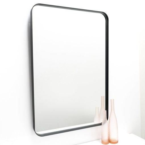 Milan Curved Corner Black Metal Frame Bathroom Mirror