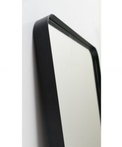 Milan Curved Corner Black Metal Frame Bathroom Mirror