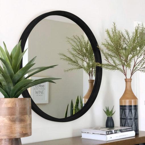 Davao-Black-Round-Wood-Frame-Mirror-60cm-80cm-100cm