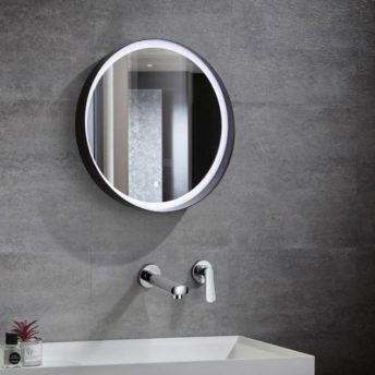 Ylena Black Metal Front Lit Round Mirror 60cm