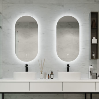 Slimline Backlit LED Oblong Bathroom Mirror 90cm x 45cm