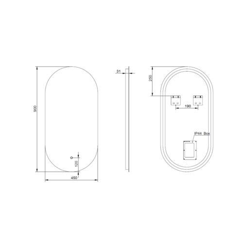 Slimline Backlit LED Oblong Bathroom Mirror 90cm x 45cm