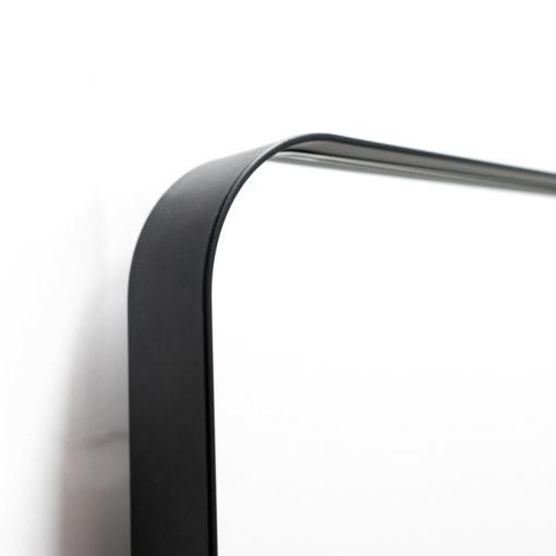 Milan Full Length Curved Corner Black Metal Frame Bathroom Mirror - 150cm x 50cm
