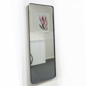 Milan Full Length Curved Corner Black Metal Frame Bathroom Mirror - 150cm x 50cm