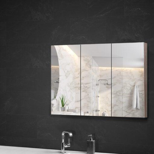 3 Doors Mirrored Wooden Cabinet 90 CM x 72 CM