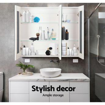 3 Doors Mirrored Wooden Cabinet - White 90 CM x 72 CM