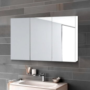3 Doors Mirrored Wooden Cabinet - White 90 CM x 72 CM