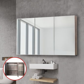 3 Doors Mirrored Wooden Cabinet - 120 CM x 72 CM