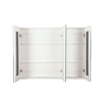 3 Doors Mirrored Wooden Cabinet - White 120 CM x 72 CM
