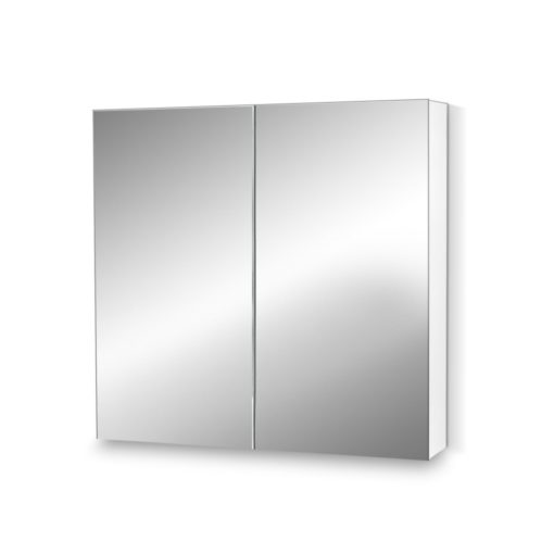 2 Doors Mirrored Wooden Cabinet - White 75 CM x 72 CM
