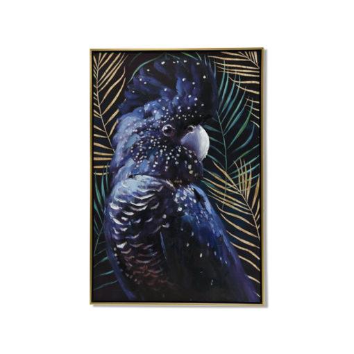 Dark Cockatoo in Forest Canvas Wall Art 60cm x 90cm