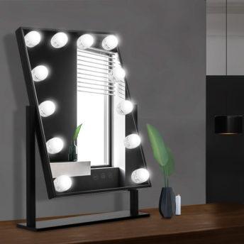 Freestanding Hollywood Make Up Mirror - Black - 30cm x 40cm