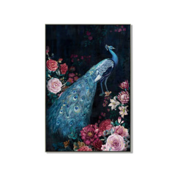 Peacock with Flowers Wall Art Canvas 80 cm X 120 cm