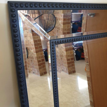 Black Beaded Wall Mirror 110cm x 80cm