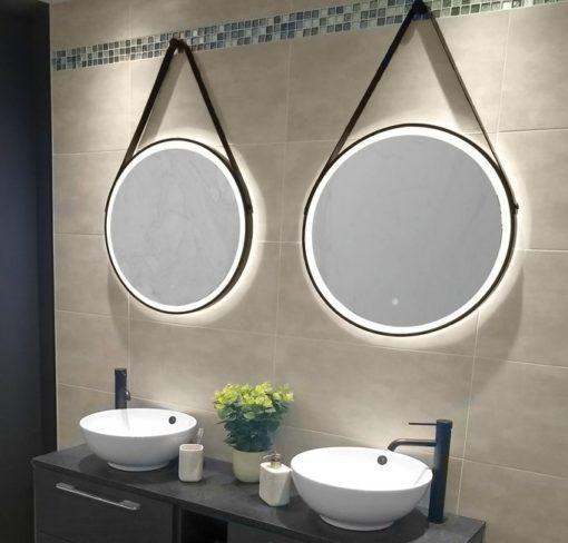 Black Framed Strap Hanging LED Round Mirror 60cm