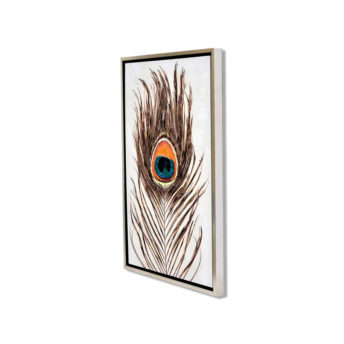 Single Peacock Feather Wall Art Canvas 55 cm X 85 cm