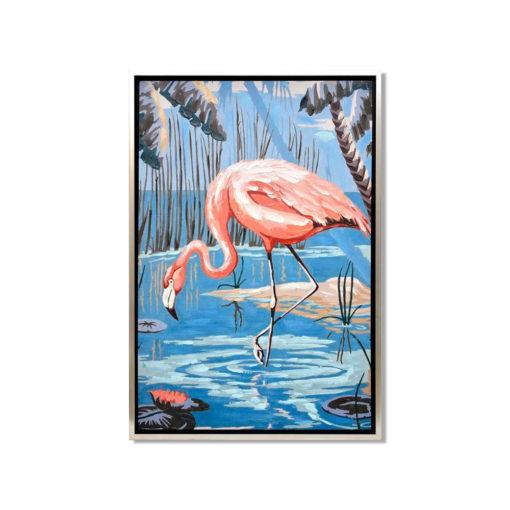 Drinking Flamingo Wall Art Canvas 65 cm X 95 cm