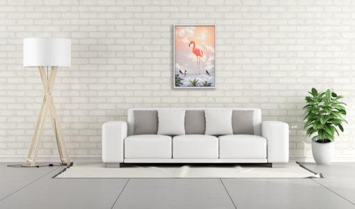 Standing Flamingo Wall Art Canvas 65 cm X 95 cm