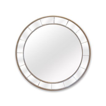 Silver Beaded Art Deco Round Wall Mirror 100cm