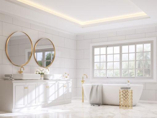 Luxe Thin Brass Gold Round Metal Frame Bathroom Mirror - 60cm or 80cm