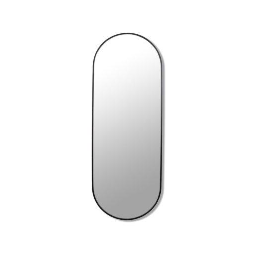 Pill Shape Black Stainless Steel Framed Mirror - 150CM