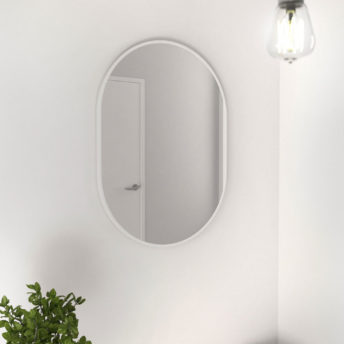 Pill Shape White Stainless Steel Framed Mirror - 70CM