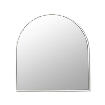 Arch Shape White Stainless Steel Framed Mirror - 80cm x 76cm
