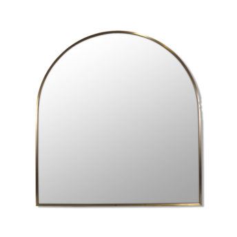 Arch Shape Satin Brass Stainless Steel Framed Mirror - 80cm x 76cm